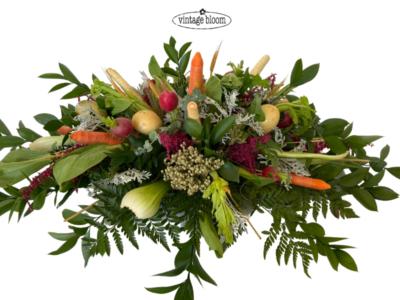 Funeral Flowers vegetable casket spray