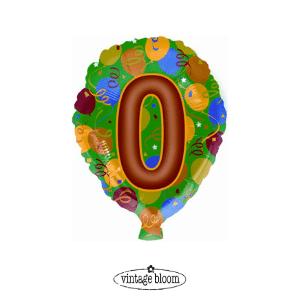 Number 0 Helium Balloon