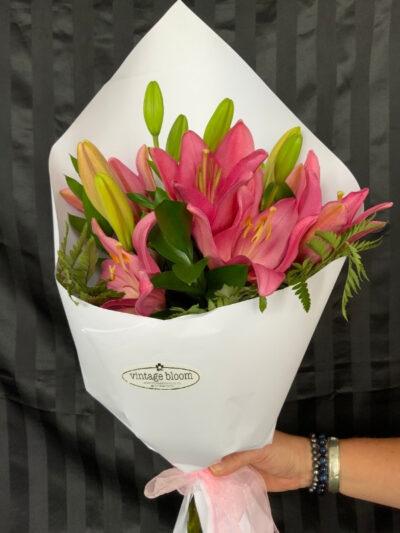 Vintage bloom Tokoroa florist lily bouquet