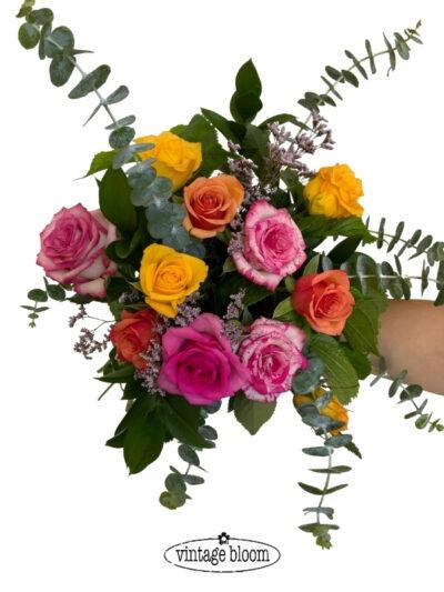 tokoroa florist roses bouquet mixed colours